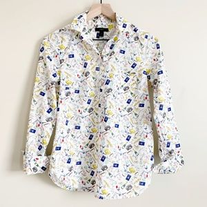 J Crew French Print Popover Blouse White 0